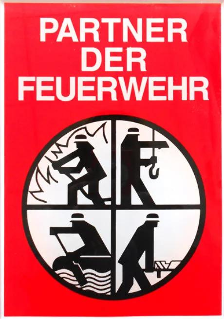 """Förderschild """"Partner der Feuerwehr"""" des Deutschen Feuerwehrverbandes - http://www.feuerwehrversand.de/"""